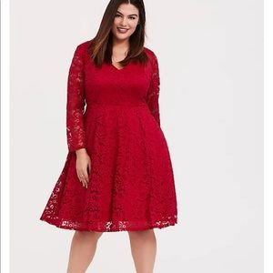 Torrid size 4 red sleeves lace skater dress EUC